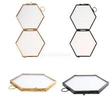 Hanging Metal Glass Vintage Hexagon Photo Picture Frame Keepsake Gift 8.8x8.5cm Picture Holder Home Decoration