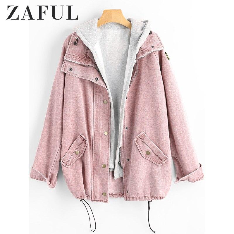 ZAFUL Veste en Jean boutonnée avec capuche amovible Jean grande taille automne femmes manteau 2019 mode Streetwear Veste Femme