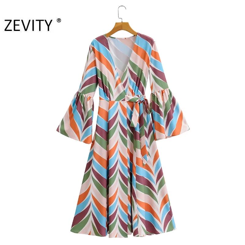 ZEVITY Women Vintage cross v neck colorful striped print casual kimono Dress ladies flare sleeve lace up Vestidos Dresses DS4312