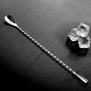 Long Handle Tea Stir Spoon Stainless Steel Cocktail Mixing Bar Spiral Pattern Drink Shaker Muddler Stirrer Twisted Mixing Spoon