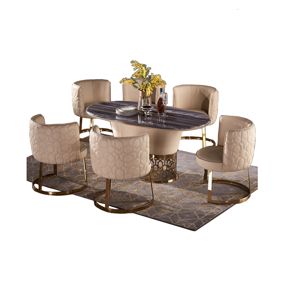 Dining Table Set Comedor Sillas De Comedor стол обеденный Mesa Comedor Muebles De Madera Mesa + 6 Chairs Marble Stainless Steel