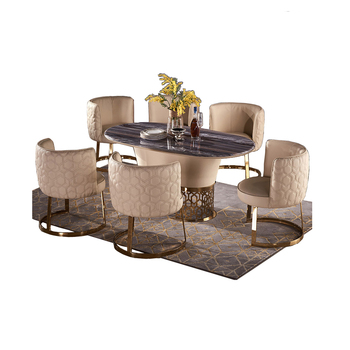 dining table set comedor sillas de стол обеденный mesa muebles madera + 6 chairs marble stainless steel