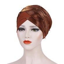Écharpe de tête musulmane à perles brillantes pour femmes, chapeau turban à perles, chapeau pliant, mode femmes, hijab, 2020