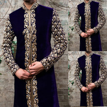Abaya Homme Mode Musulmane Arabe Hommes Vêtements 2021 Jubba Thobe Kaftan Robe Col Montant Imprimé Or Modestes Islamique Vêtements Mâle