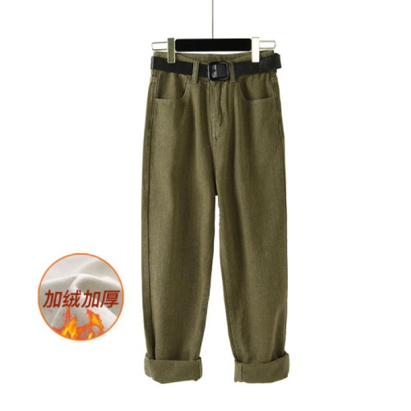 YAMDI Women Trouser Female Vintage High Waist Thick Velvet Pants Korean Woman Loose Jeans Pants Solid Green Denim Capris 2020