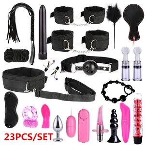 Esposas BDSM para parejas, juguetes sexuales para Bondage BDSM, juegos de retención, látigo, mordaza, consolador, vibrador, Juguetes sexuales eróticos para adultos