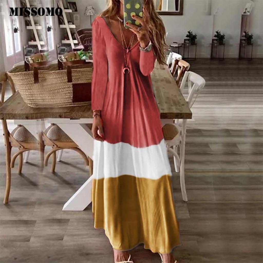 MISSOMO Vintage maxi Dress mulheres Manga Comprida V Neck Patchwork vestidos Casuais Retro Longo Vestido da menina de Vestido de verão dropshipping