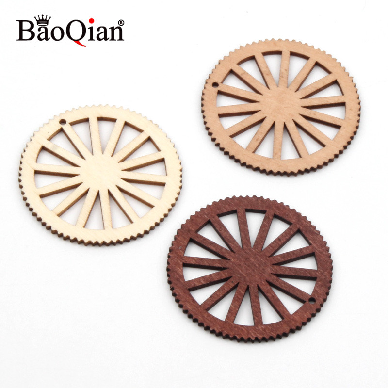 10pcs 50mm Wheel Gear Pattern Natrual Wooden Scrapbooking Hollow Craft Diy For Handmade Home Decoration