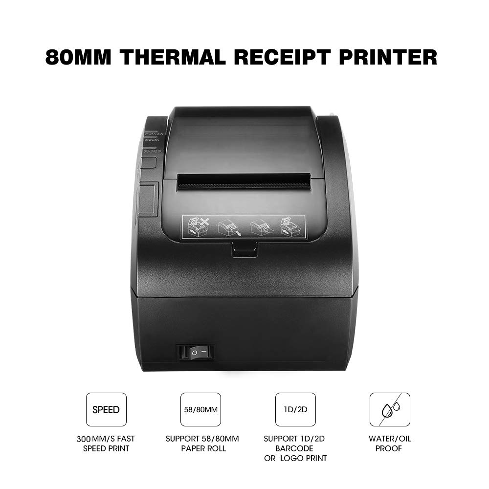 Image 2 - GZ8002 80mm Thermal Receipt Printer Automatic cutter Restaurant Kitchen POS Printer USB+Serial+Ethernet Wifi Bluetooth printer-in Printers from Computer & Office