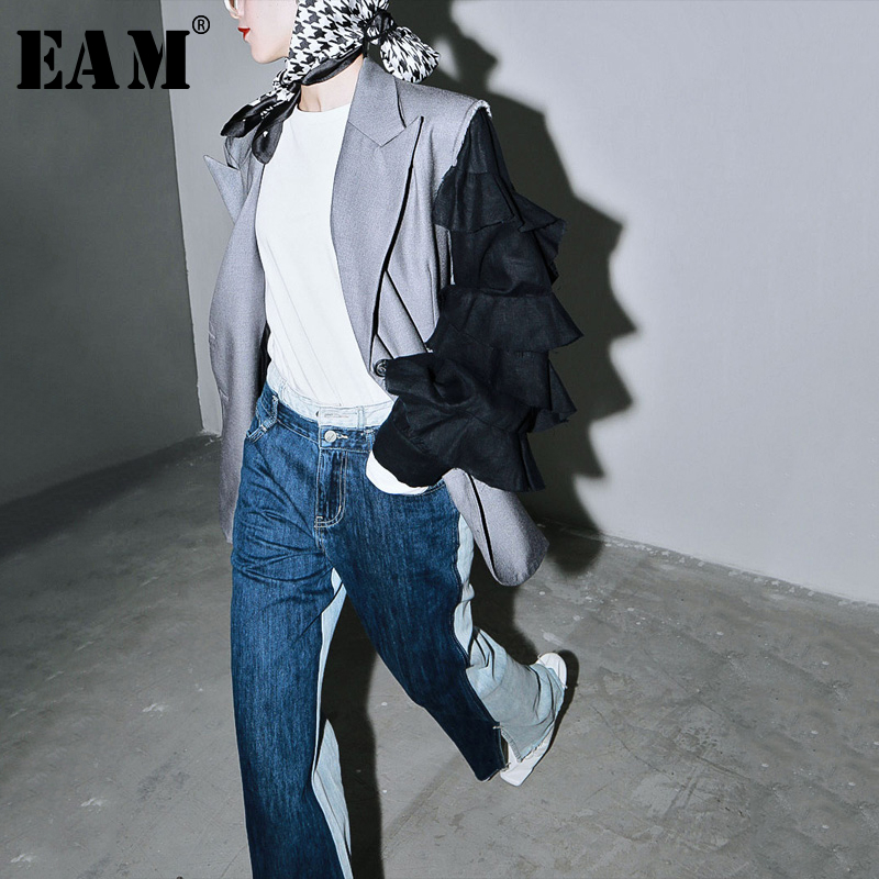 [EAM]  Women Gray Contrast Color Split Ruffles Blazer New Lapel Long Sleeve Loose Fit  Jacket Fashion Spring Autumn 2020 1T270