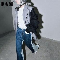 [EAM]  Women Gray Contrast Color Split Ruffles Blazer New Lapel Long Sleeve Loose Fit  Jacket Fashion Spring Autumn 2020 1T270