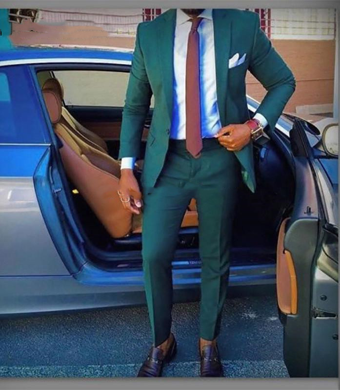 Custom Made Groomsmen Green Groom Tuxedos Notch Lapel Men Suits Wedding Best Man Bridegroom Blazer (Jacket + Pants + Tie)terno