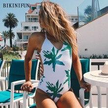 New Sexy Green Leaves Print Bathing Suit Women One Piece Red Swimsuit S-XL Cross Back Straps Swimwear Swim Monokini