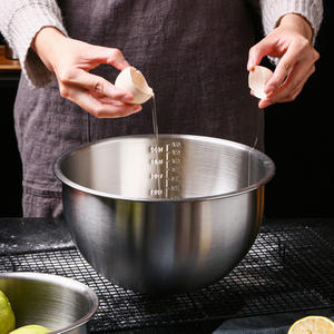 304-Stainless-Steel Bowls Salad Baking Kitchen Deep-Mixing Quart with Scale 9-Inches