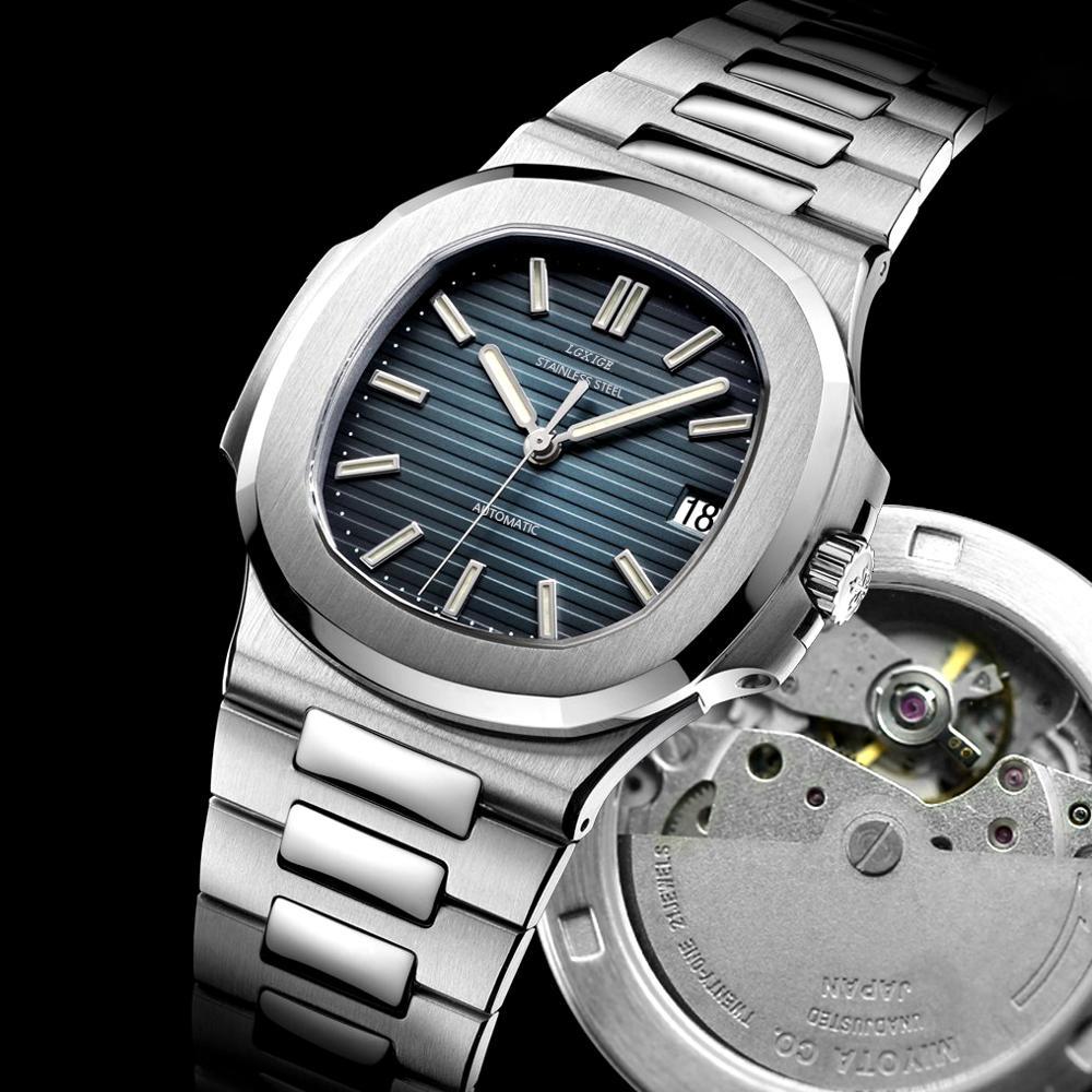 LGXIGE Top Brand Luxury Watch Men Miyota 8215 Mvt  Automatic Watches Self-wind Blue Stainless Steel Watch Patek Phillippe 2020