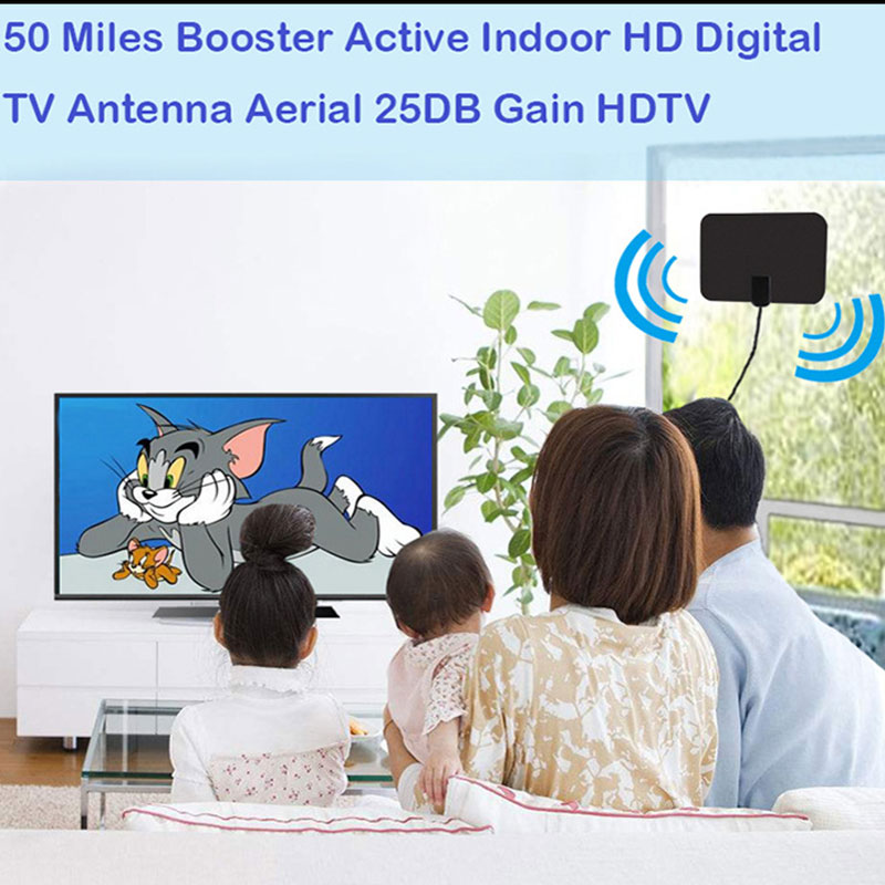 HDTV001 50 Miles Range HDTV Antenna for Indoor Amplified Digital TV Antennas Signal Booster Satellite signal receiver Aerial in TV Antenna from Consumer Electronics