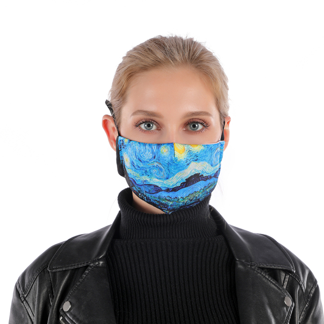 Zohra VINCENT VAN GOGH ART Printing Reusable Protective PM2.5 Filter mouth Mask anti dust Face mask bacteria proof Flu Mask 1