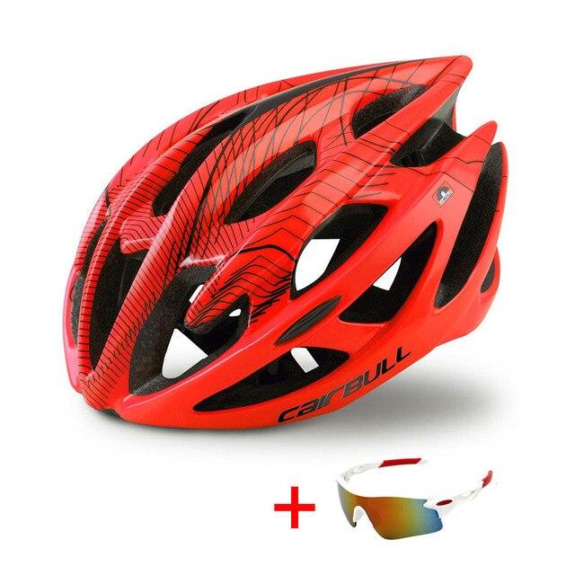 Capacete profissional de bicicleta de estrada e de montanha, capacete com óculos ultraleve dh mtb all-terrain esportes equitação ciclismo 4