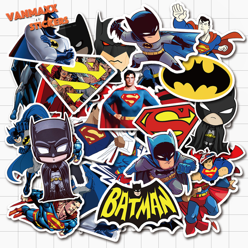 VANMAXX 45 PCS Superman And Batman DC Superhero Graffiti Stickers Waterproof Vinyl Decal For Laptop Helmet Bicycle Luggage Cars