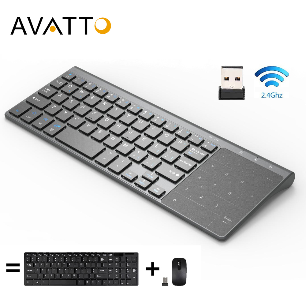AVATTO Ultra-thin 2.4GHz Wireless Multimedia Mini Keyboard With Digtal Keypad, Mouse Touchpad For Windows,Android,iOS,PC Laptop