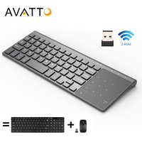 Avatto ultra-fino 2.4 ghz sem fio multimídia mini teclado com teclado digtal, touchpad do mouse para windows, android, ios, computador portátil