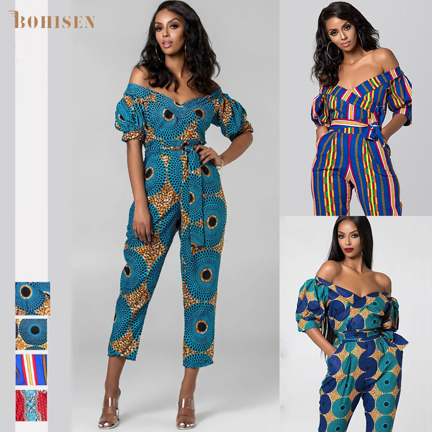 BOHISEN Dashiki African Dresses For Women Bazin Jumpsuits Ankara Dresses Off Shoulder Riche African Print Clothes For Women
