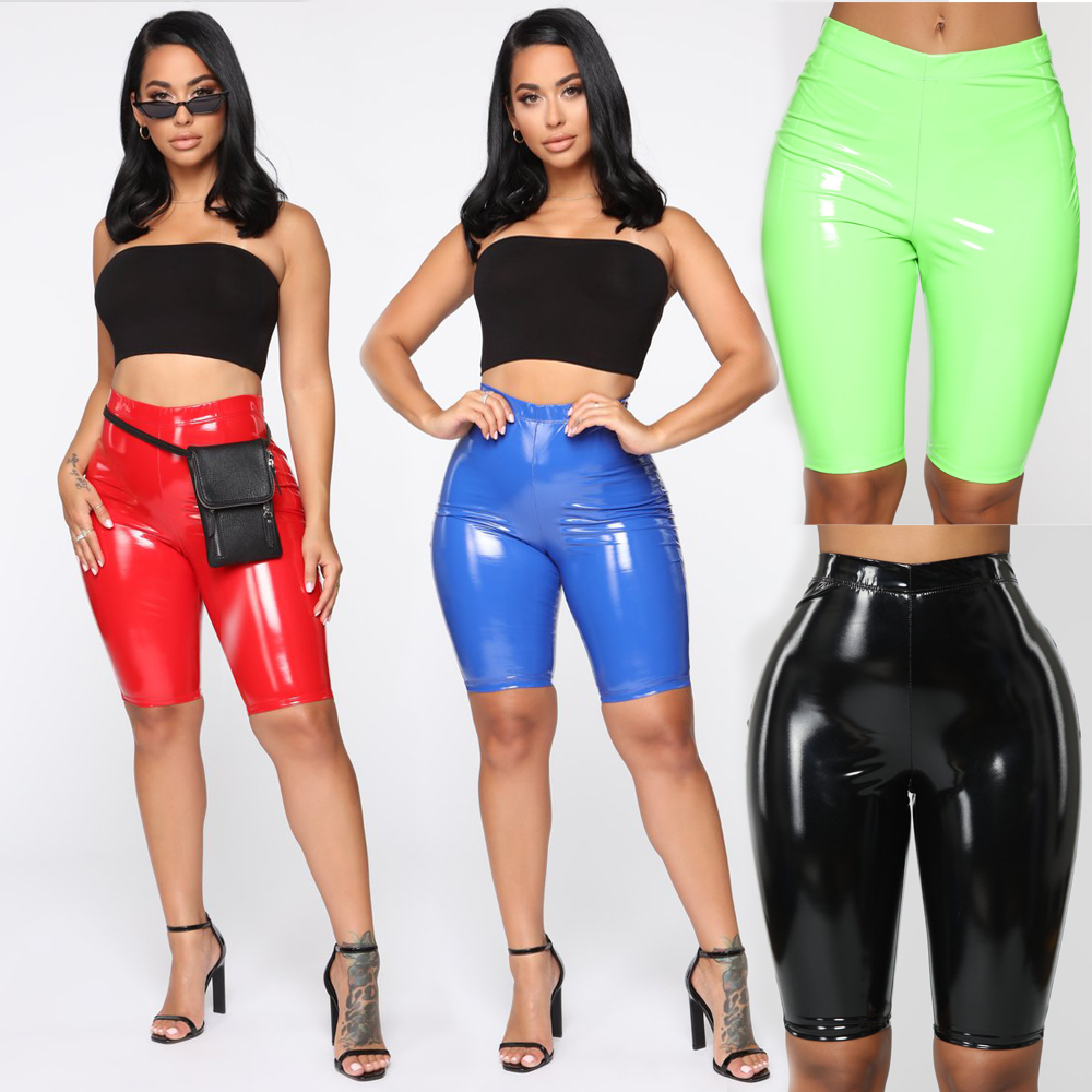 Fashion Sexy Women Shorts Stretch Shiny PU Leather Shorts Bodycon High Waist Skinny Trousers Streetwear