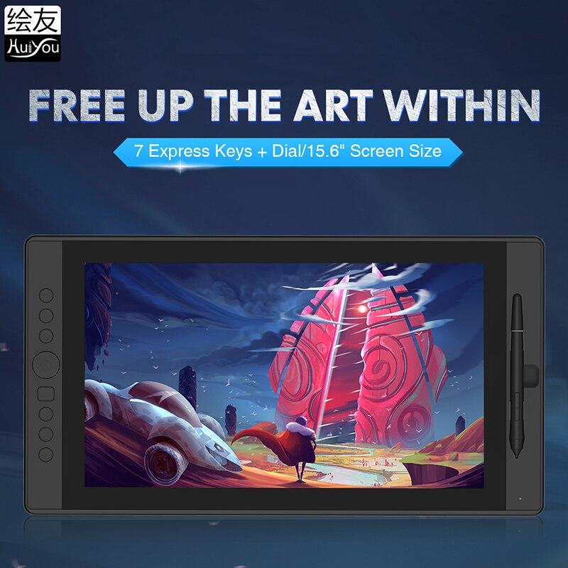 15.6 inç HUIYOU H16 grafik monitör dijital kalem ekran çizim tableti ile ekran IPS HD 8192 seviyeleri 7 kısayol tuşları arama