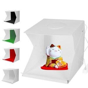 Image 1 - 2LED Lightbox กล่อง Mini Photo Studio Box 1100LM การถ่ายภาพแสงสตูดิโอถ่ายภาพเต็นท์กล่องชุด 4 สีฉากหลัง
