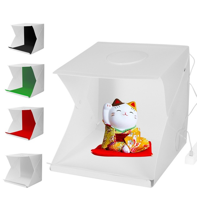 2LED Lightbox กล่อง Mini Photo Studio Box 1100LM การถ่ายภาพแสงสตูดิโอถ่ายภาพเต็นท์กล่องชุด 4 สีฉากหลัง