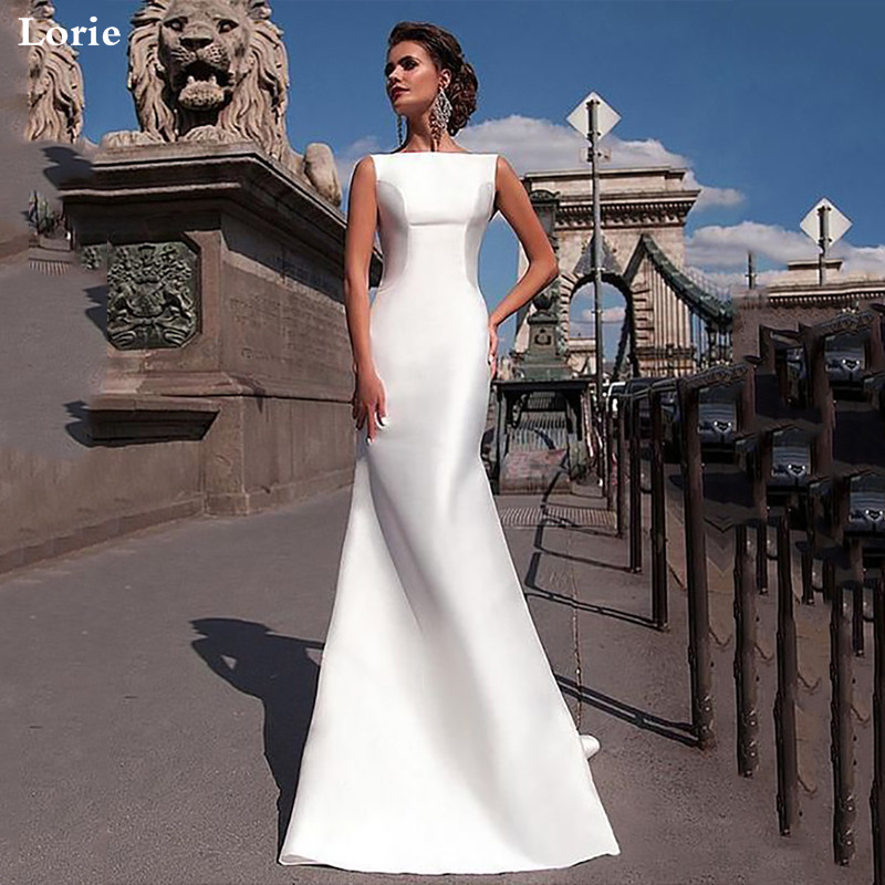 Lorie Mermaid Wedding Dress Backless Satin Bride Dresses Vestido De Novia  Boho Elegant Wedding Gown For Women Custom Made