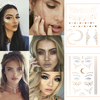 2019 New Gold Face Temporary Tattoo Waterproof Blocked Freckles Makeup Stickers Eye Decal Wholesale 1