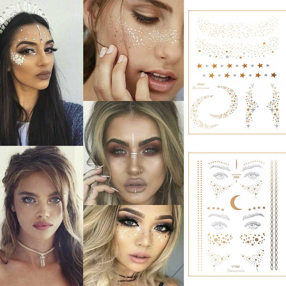 2019 novo rosto de ouro tatuagem temporária à prova dwaterproof água bloqueado sardas maquiagem adesivos olho decalque atacado