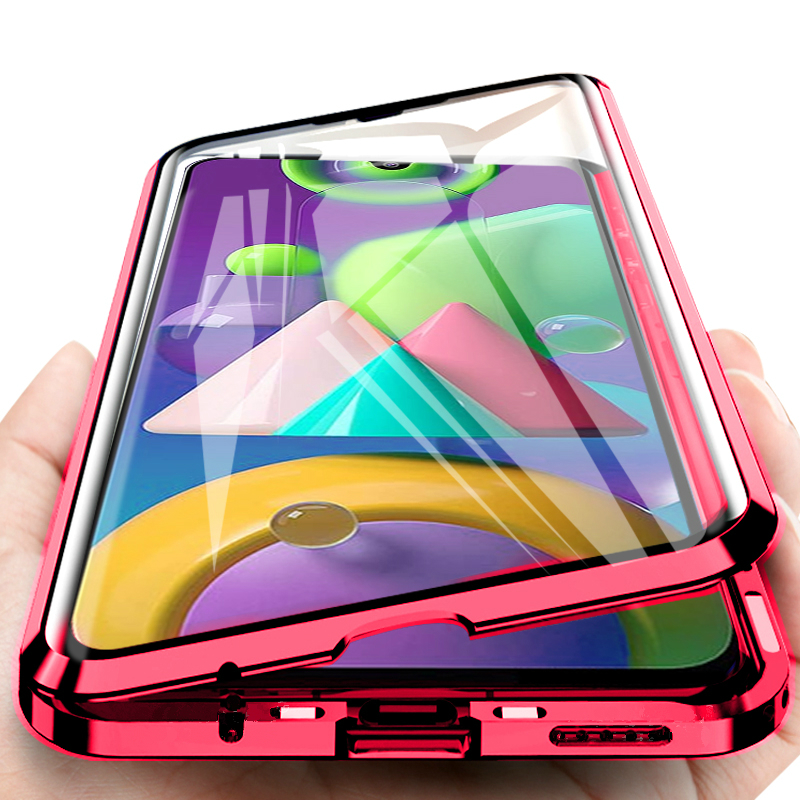 360 Full Cover Magnetic Flip Case For Samsung Galaxy A10 A20 A30 A50 A70 S A51 A71 M21 M30s Double Side Glass Protective Coque