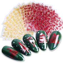 1 piezas etiqueta engomada del clavo copo de nieve 3D deslizadores para uñas cartas de Navidad diseño manicura rojo decoración de oro consejos JISTZG041-049