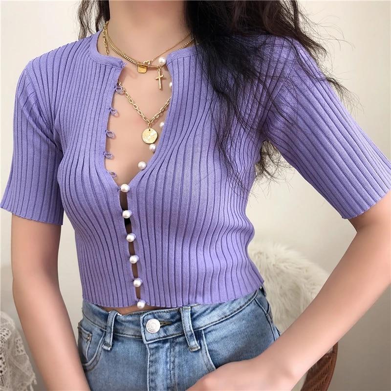 Women/'s Knit Shirt  Short Sleeve Sweater  Lavender Shirt