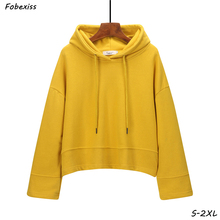 Hoodies Women Fall 2019 Kawaii Yellow Harajuku Long Sleeve Drawstring Hooded Sweatshirts Gothic Black Streetwear