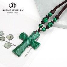 JD Dark Green Malachite Stone Beads Cross Pendant Mens Rosary Handmade Necklace Mens Mala Jewelry Wholesale