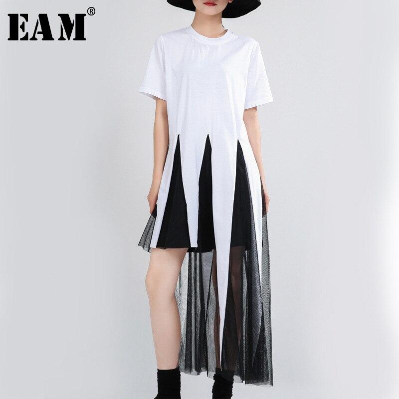[EAM] Women White Asymmetrical Mesh Split Joint T-shirt New Round Neck Short Sleeve  Fashion Tide  Spring Summer 2020 1T757