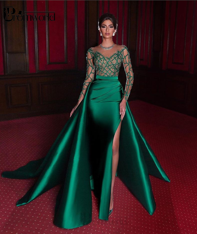 Elegant Mermaid Evening Dresses 2020 Emerald Green Formal Dress Full Long Sleeves Satin Sexy Slit Pearls Beads Party Prom Gowns