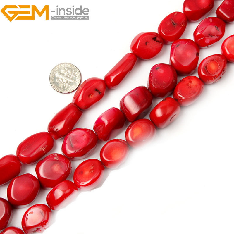 Smooth Potato Freefrom <font><b>Red</b></font> <font><b>Coral</b></font> Beads For Jewelry Making strand 15 inch Simi-precious Gem stone bead for bracelet Necklace DIY image