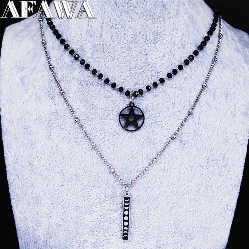 2pcs 문 Pentagram 스테인레스 스틸 체인 목걸이 여성 블랙 컬러 요술 목걸이 펜 던 트 쥬얼리 gargantilla NC1875S04