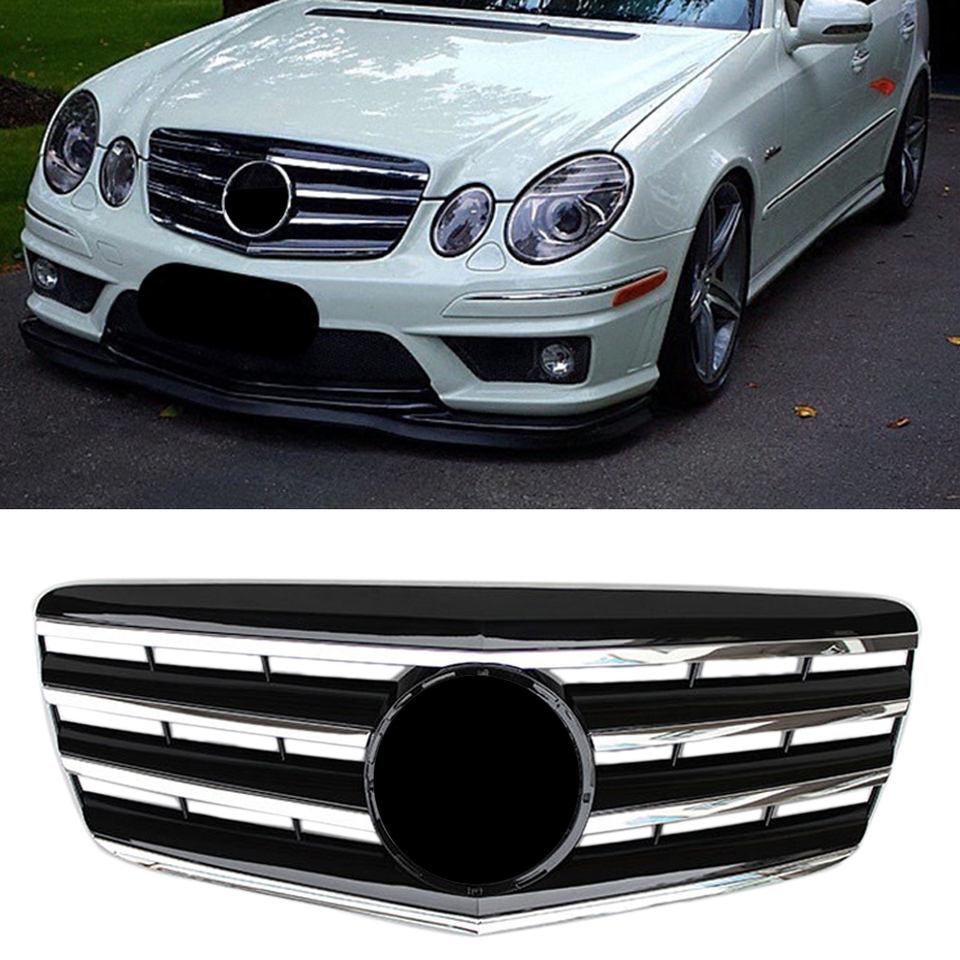 Car Upper Grill Front Grille For Mercedes Benz E Class W211 E320 E350 E500 2007 2008 2009 Chrome Black Abs With Emblem Star Racing Grills Aliexpress