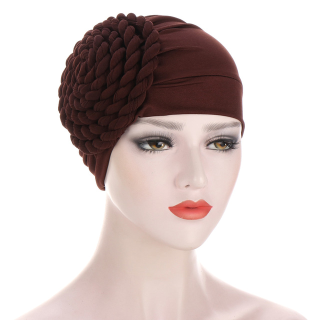 Новый головной убор тюрбан шапки для женщин твердая коса рюшами