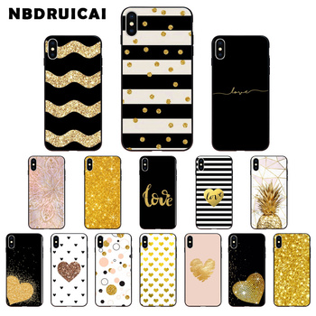 NBDRUICAI amp yellow gold glitter TPU Soft Silicone Phone Case Cover for iPhone 11 pro XS MAX 8 7 6 6S Plus X 5 5S SE XR case nbdruicai hottest venom marvel hero soft silicone tpu phone cover for iphone 11 pro xs max 8 7 6 6s plus x 5s se xr case