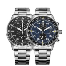 Luxury Japan Brand Quartz Watches Business Casual Steel/Leather Band Watch Men's Blue Angels World Chronograph WristWatch