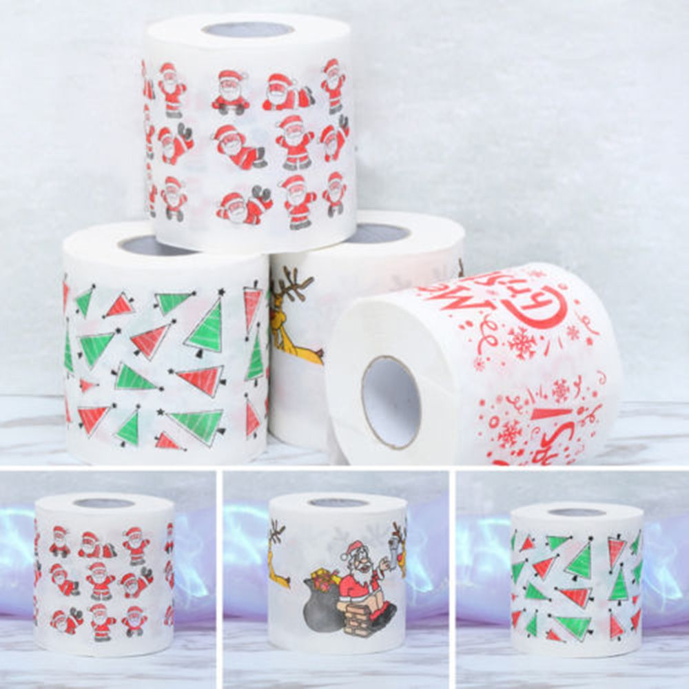 Novelty Funny Cute Santa Claus Elk Christmas Tree Toilet Roll Paper Tissue Living Bathroom Table Decor Color Random 30m (appr.)