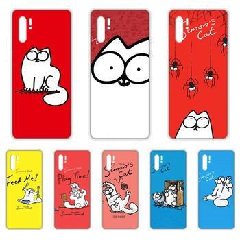lovely Simons Cat pretty shell Transparent Phone Case cover For HUAWEI 5t p 8 9 10 20 30 40 P pro Smart 2017 2019 Z lite image