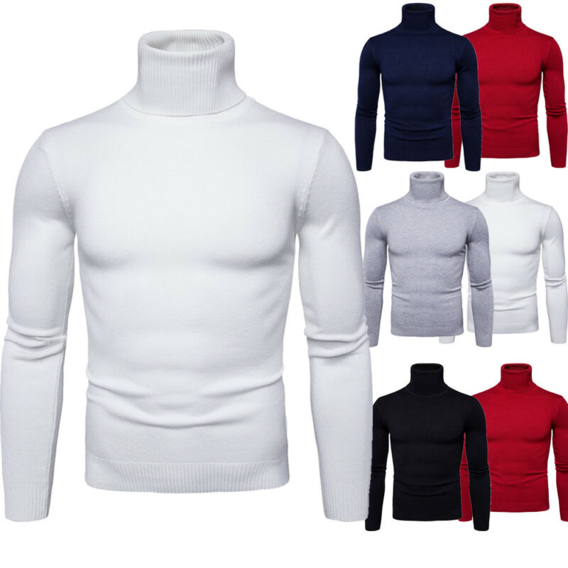 2019 Solid Baisc Men High Neck Turtleneck Cotton Pull Over Sweaters Long Sleeve Stretch Jumper M-2XL Top