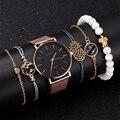 5pcs Conjunto Alegria Relógio Marca As Mulheres Ouro Rosa Pulseira de Relógio de Jóias de Luxo Senhoras Fêmea Horas Casual relógios de Pulso de Quartzo